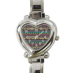 Aztec Pattern Cool Colors Heart Italian Charm Watch by BangZart