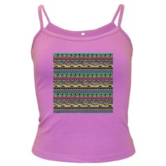 Aztec Pattern Cool Colors Dark Spaghetti Tank