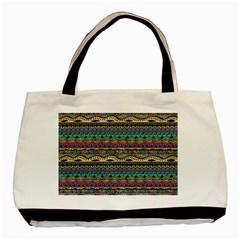 Aztec Pattern Cool Colors Basic Tote Bag by BangZart