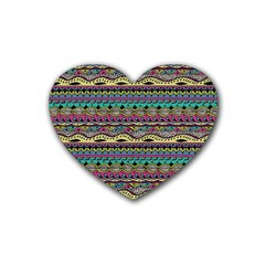 Aztec Pattern Cool Colors Rubber Coaster (heart)  by BangZart