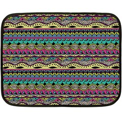 Aztec Pattern Cool Colors Fleece Blanket (mini) by BangZart