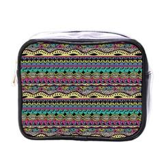 Aztec Pattern Cool Colors Mini Toiletries Bags by BangZart