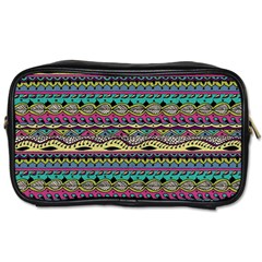 Aztec Pattern Cool Colors Toiletries Bags 2 Side by BangZart