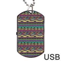 Aztec Pattern Cool Colors Dog Tag Usb Flash (two Sides)