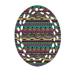 Aztec Pattern Cool Colors Oval Filigree Ornament (two Sides) by BangZart