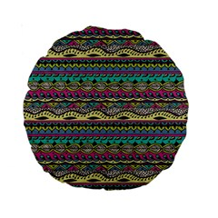 Aztec Pattern Cool Colors Standard 15  Premium Round Cushions by BangZart