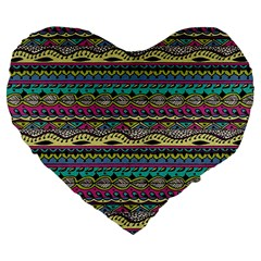 Aztec Pattern Cool Colors Large 19  Premium Heart Shape Cushions by BangZart
