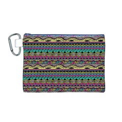 Aztec Pattern Cool Colors Canvas Cosmetic Bag (m) by BangZart