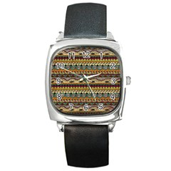 Aztec Pattern Ethnic Square Metal Watch by BangZart