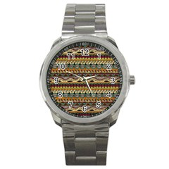 Aztec Pattern Ethnic Sport Metal Watch by BangZart
