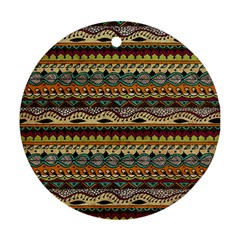 Aztec Pattern Ethnic Round Ornament (two Sides)