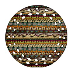 Aztec Pattern Ethnic Round Filigree Ornament (two Sides) by BangZart
