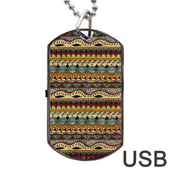 Aztec Pattern Ethnic Dog Tag Usb Flash (one Side) by BangZart