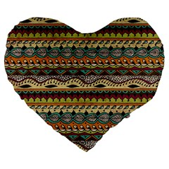 Aztec Pattern Ethnic Large 19  Premium Flano Heart Shape Cushions by BangZart