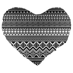 Aztec Pattern Design Large 19  Premium Flano Heart Shape Cushions by BangZart