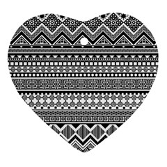 Aztec Pattern Design(1) Heart Ornament (two Sides)