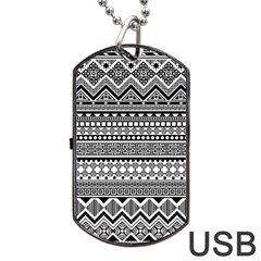 Aztec Pattern Design(1) Dog Tag Usb Flash (two Sides) by BangZart
