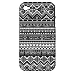Aztec Pattern Design(1) Apple Iphone 4/4s Hardshell Case (pc+silicone)
