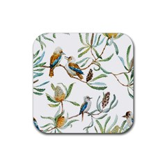 Australian Kookaburra Bird Pattern Rubber Square Coaster (4 Pack)  by BangZart