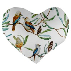 Australian Kookaburra Bird Pattern Large 19  Premium Heart Shape Cushions by BangZart
