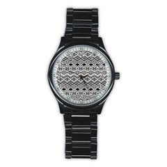 Aztec Design  Pattern Stainless Steel Round Watch