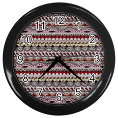 Aztec Pattern Art Wall Clocks (black)