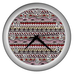 Aztec Pattern Art Wall Clocks (silver)