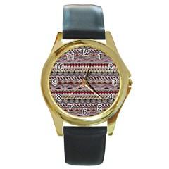 Aztec Pattern Art Round Gold Metal Watch