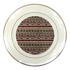 Aztec Pattern Art Porcelain Plates by BangZart