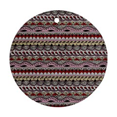 Aztec Pattern Art Round Ornament (two Sides) by BangZart