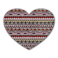 Aztec Pattern Art Heart Mousepads by BangZart