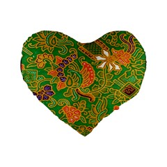 Art Batik The Traditional Fabric Standard 16  Premium Flano Heart Shape Cushions by BangZart