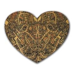 Art Indonesian Batik Heart Mousepads