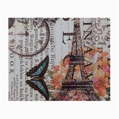 Vintage Clock Blue Butterfly Paris Eiffel Tower Fashion Glasses Cloth (small)