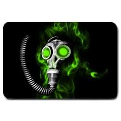 Gas Mask Large Doormat  by Valentinaart