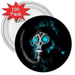 Gas Mask 3  Buttons (100 Pack)  by Valentinaart
