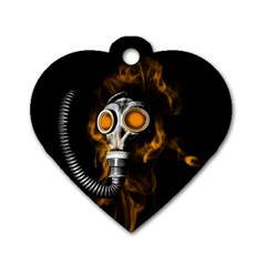 Gas Mask Dog Tag Heart (one Side) by Valentinaart