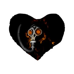 Gas Mask Standard 16  Premium Flano Heart Shape Cushions by Valentinaart