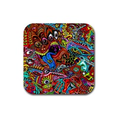 Art Color Dark Detail Monsters Psychedelic Rubber Square Coaster (4 Pack)  by BangZart