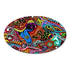 Art Color Dark Detail Monsters Psychedelic Oval Magnet by BangZart