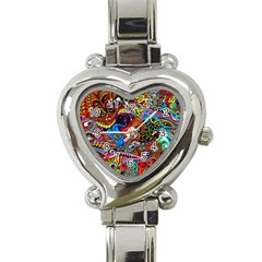 Art Color Dark Detail Monsters Psychedelic Heart Italian Charm Watch
