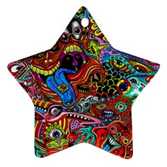Art Color Dark Detail Monsters Psychedelic Star Ornament (two Sides) by BangZart