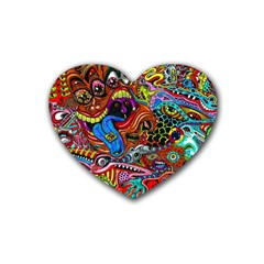 Art Color Dark Detail Monsters Psychedelic Heart Coaster (4 Pack)  by BangZart