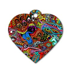 Art Color Dark Detail Monsters Psychedelic Dog Tag Heart (two Sides)