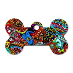 Art Color Dark Detail Monsters Psychedelic Dog Tag Bone (one Side)