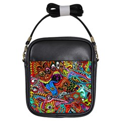 Art Color Dark Detail Monsters Psychedelic Girls Sling Bags by BangZart