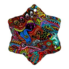 Art Color Dark Detail Monsters Psychedelic Snowflake Ornament (two Sides)