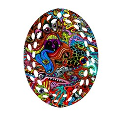 Art Color Dark Detail Monsters Psychedelic Ornament (oval Filigree)
