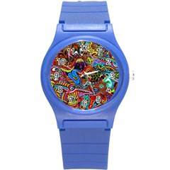 Art Color Dark Detail Monsters Psychedelic Round Plastic Sport Watch (s) by BangZart