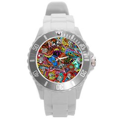 Art Color Dark Detail Monsters Psychedelic Round Plastic Sport Watch (l) by BangZart